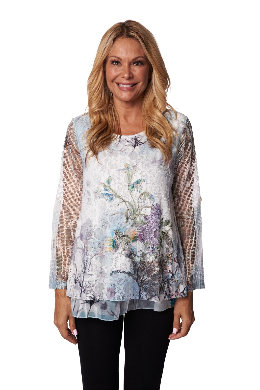 Fashion Cage Mesh-Sleeve Floral Blouse - Main Image