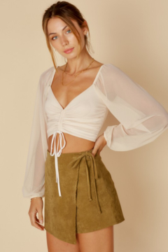 Shoptiques Product: Mesh Sleeve Gathered Top