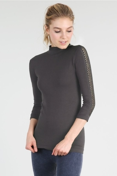 Nikibiki Mesh Sleeve Mock Neck Top, Black - Alternate List Image