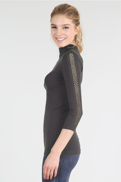 Nikibiki Mesh Sleeve Mock Neck Top, Black - Product List Image