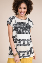 Ivy Jane  Mesh Top with Aztec Embroidery - Product Mini Image