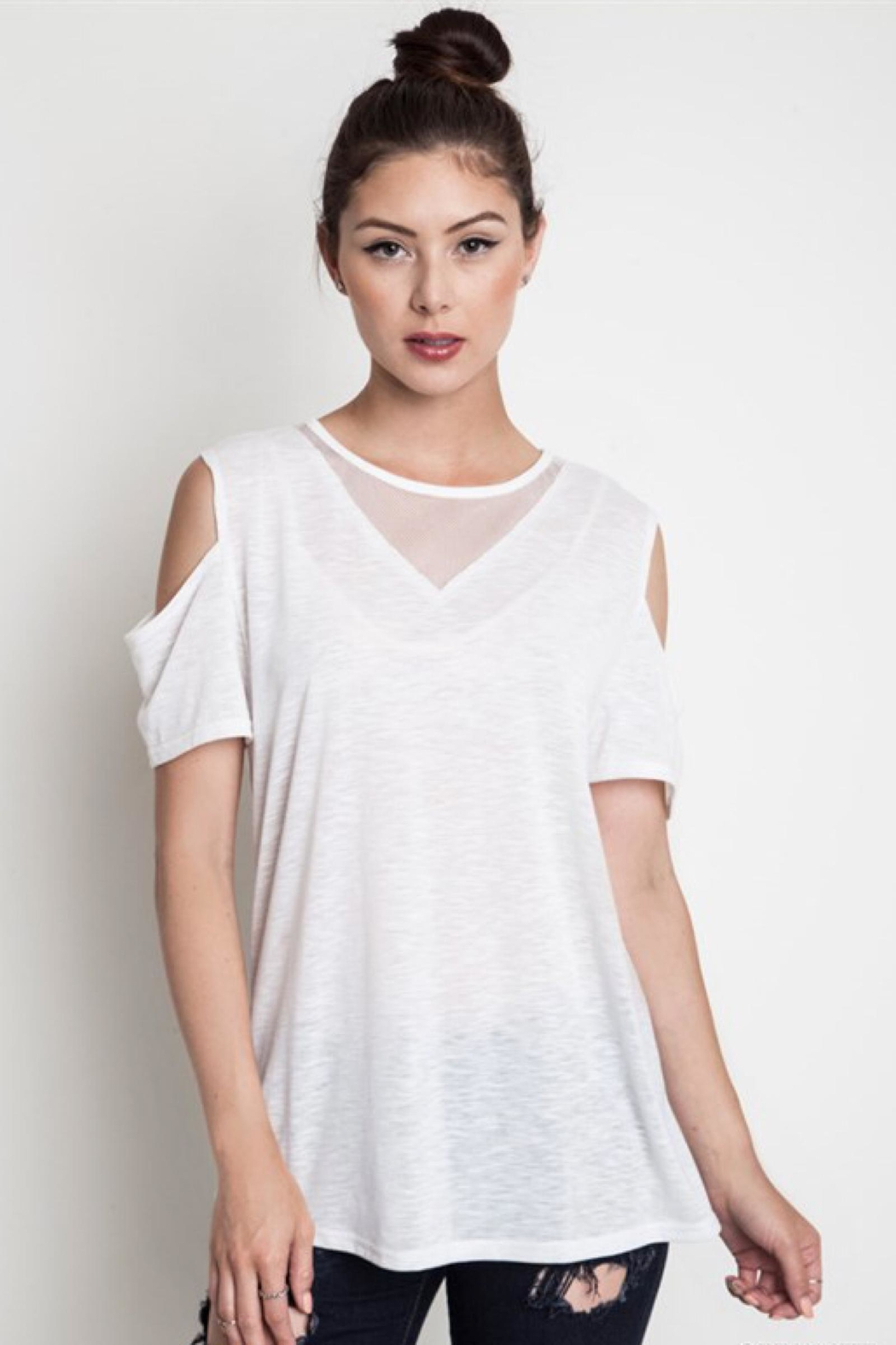 People Outfitter Mesh White Tee - Front Full Image