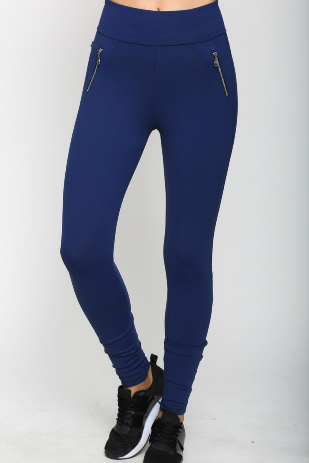 Meshica Sport Navy Blue Legging - Front Cropped Image