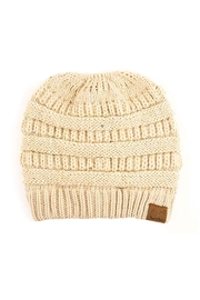 C.C Beanie Messy-Bun Solid Beanie - Product Mini Image