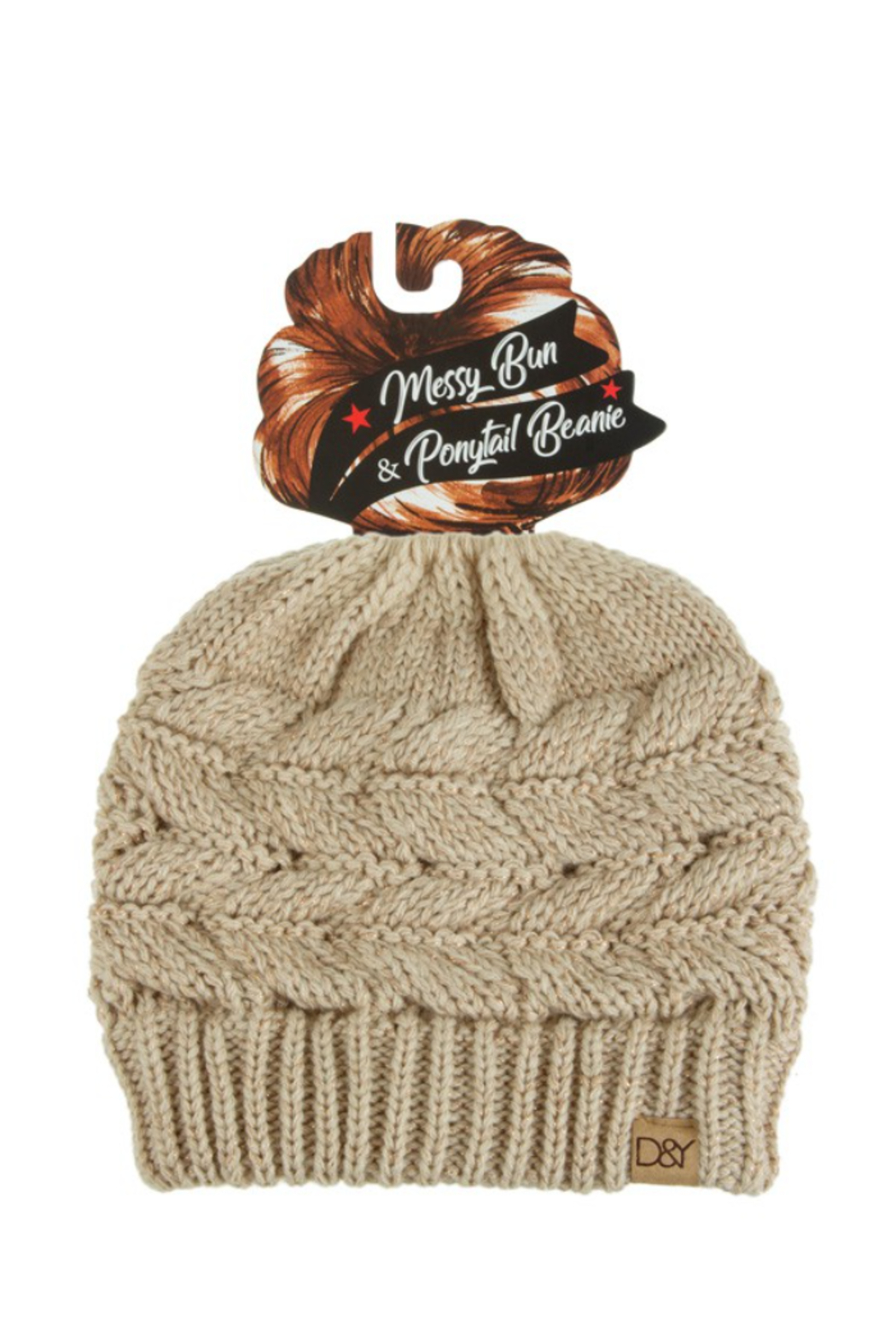 david and young Messy Bun/Sparkle Ponytail Beanie - Front Cropped Image
