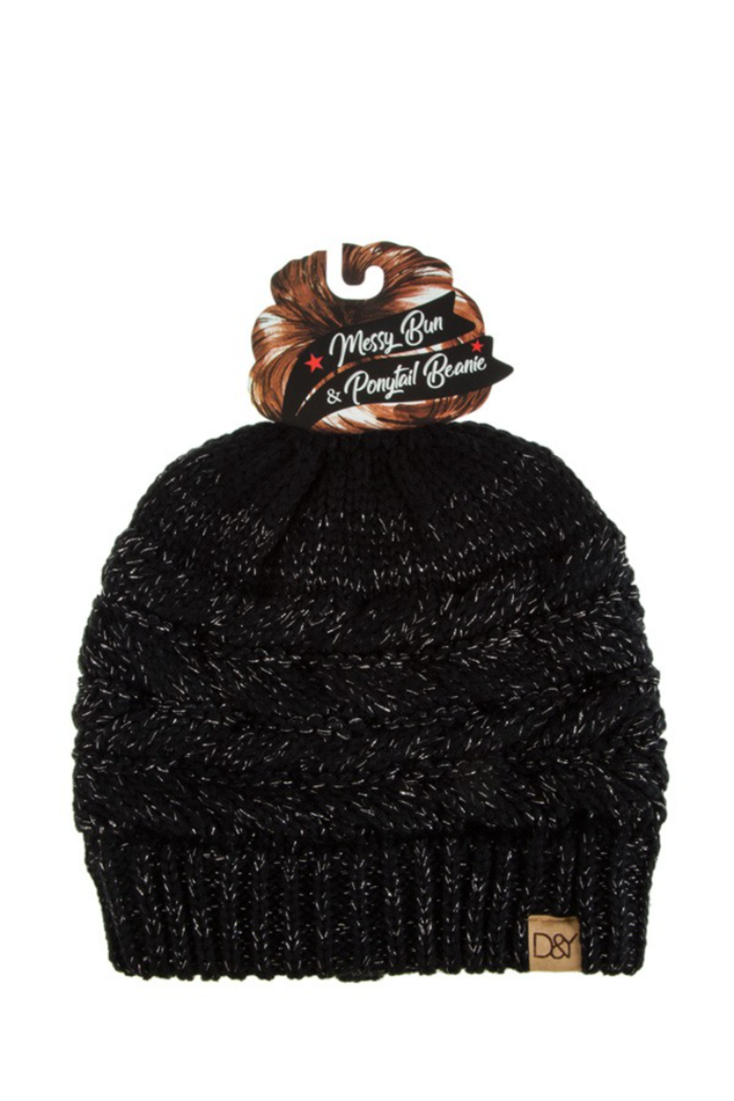 david and young Messy Bun/Sparkle Ponytail Beanie - Main Image