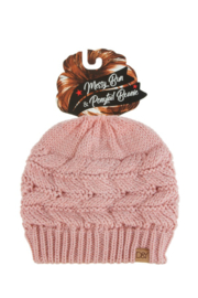 david and young Messy Bun/Sparkle Ponytail Beanie - Front cropped
