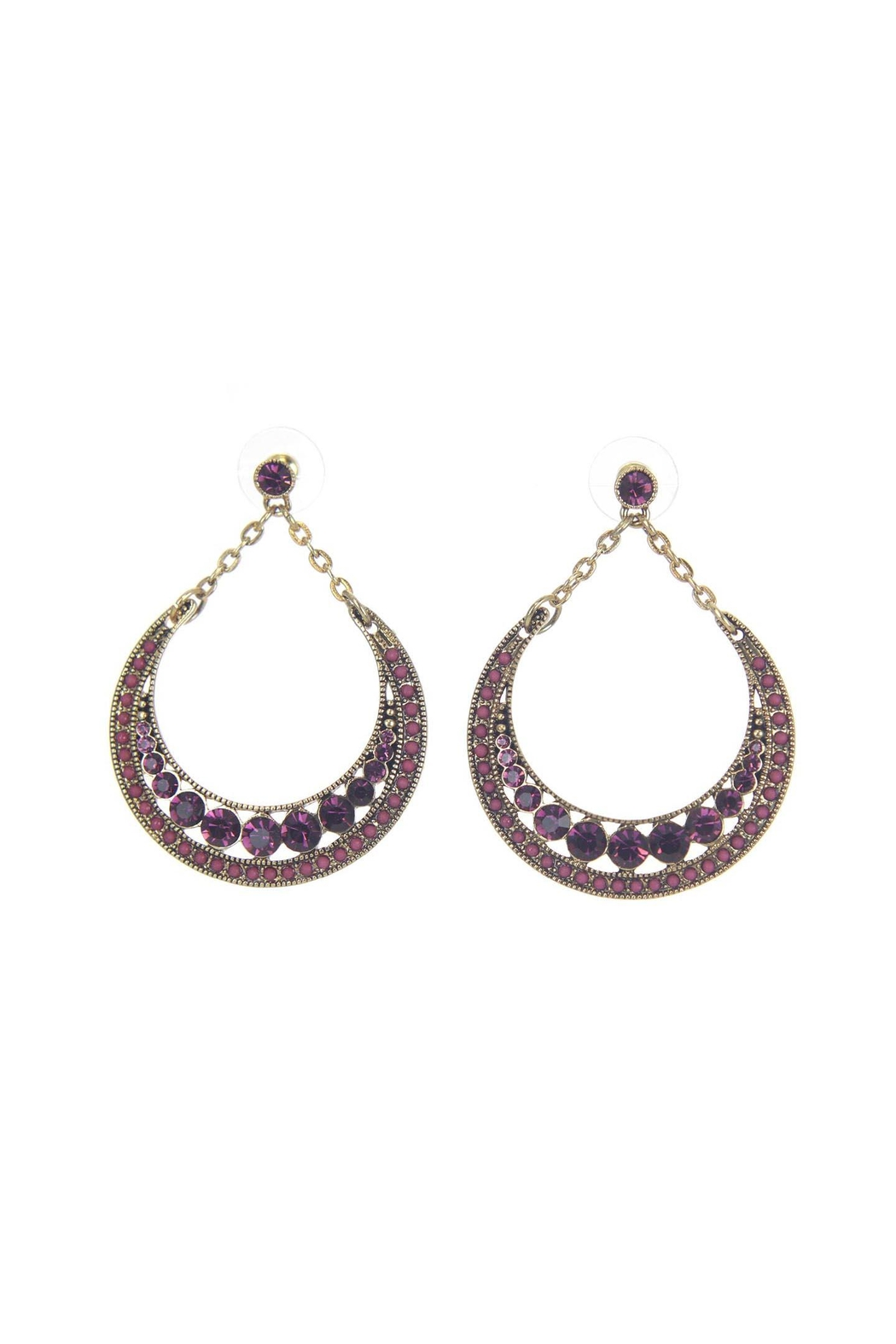 Giftcraft Inc.  Metal Earrings Purple - Front Cropped Image