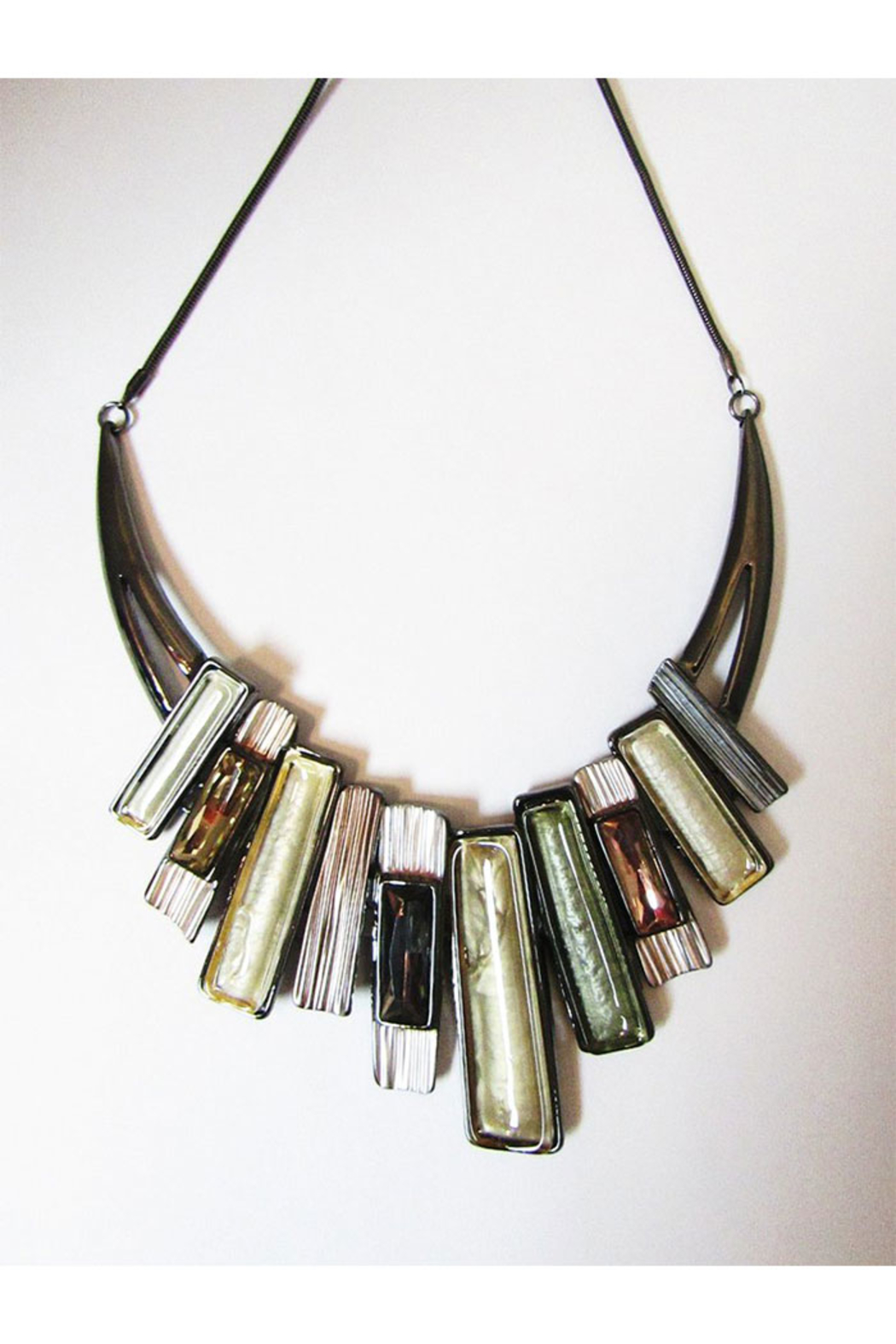 KIMBALS Metal Necklace Set Linked Rectangles In Silver/Olive Tones - Main Image