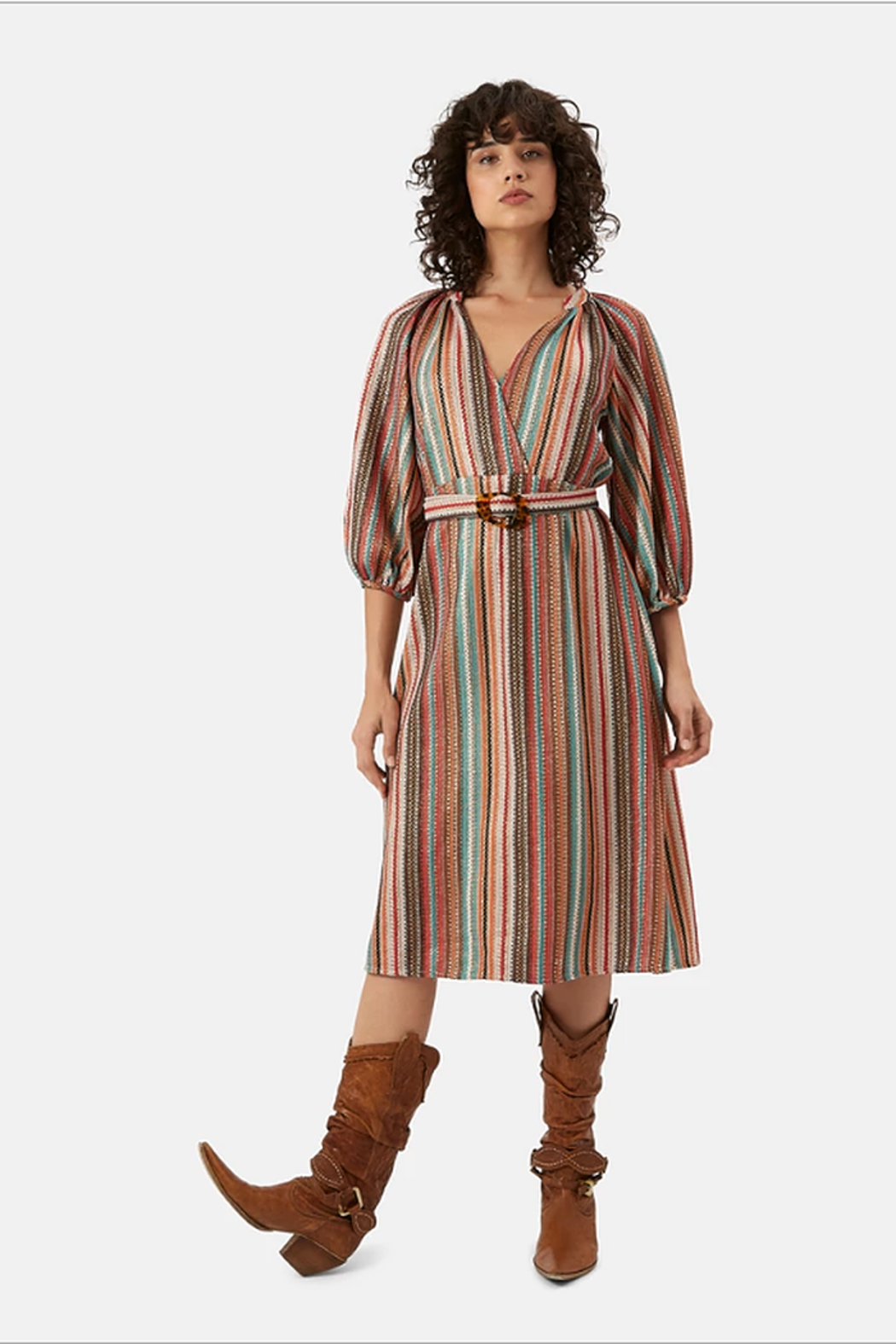 Traffic People Metallic Belted Dress - Front Cropped Image