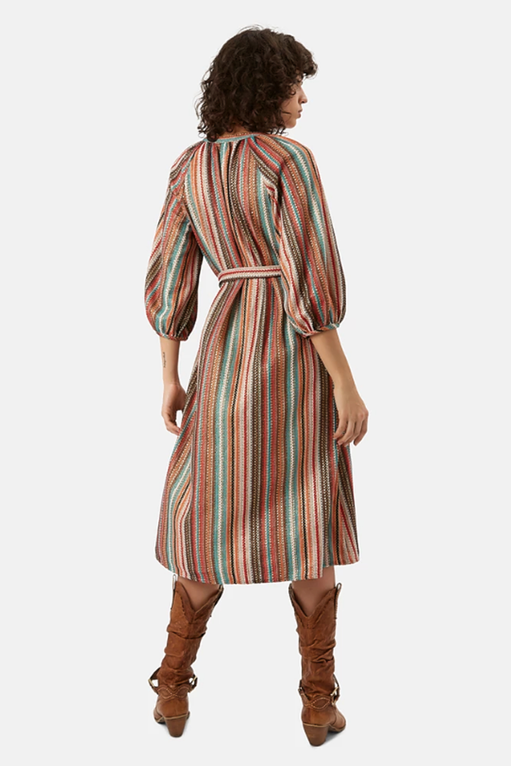 Traffic People Metallic Belted Dress - Front Full Image