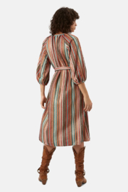 Traffic People Metallic Belted Dress - Front full body