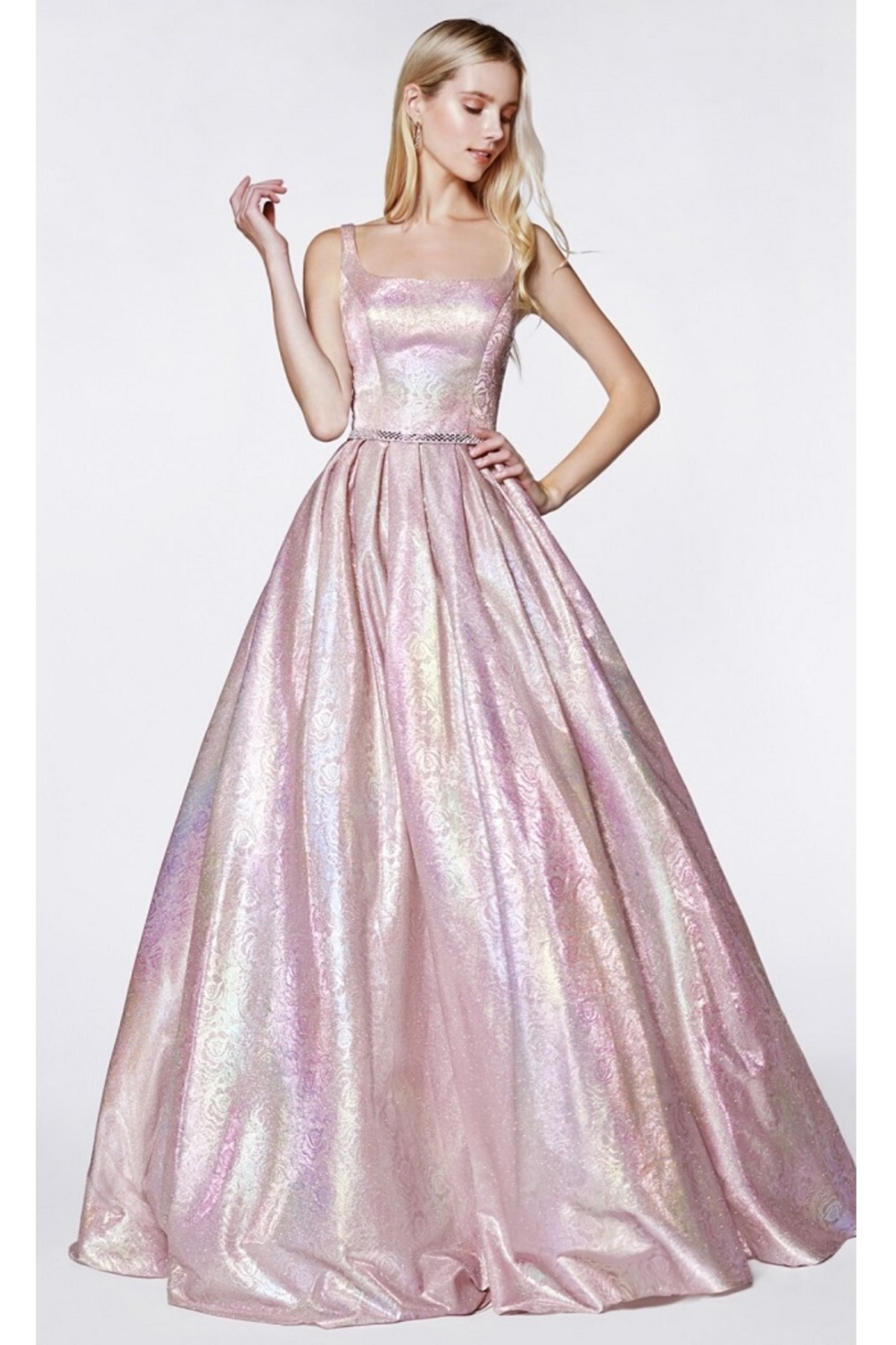 Cinderella Divine Metallic Blush Floral Ball Gown - Main Image