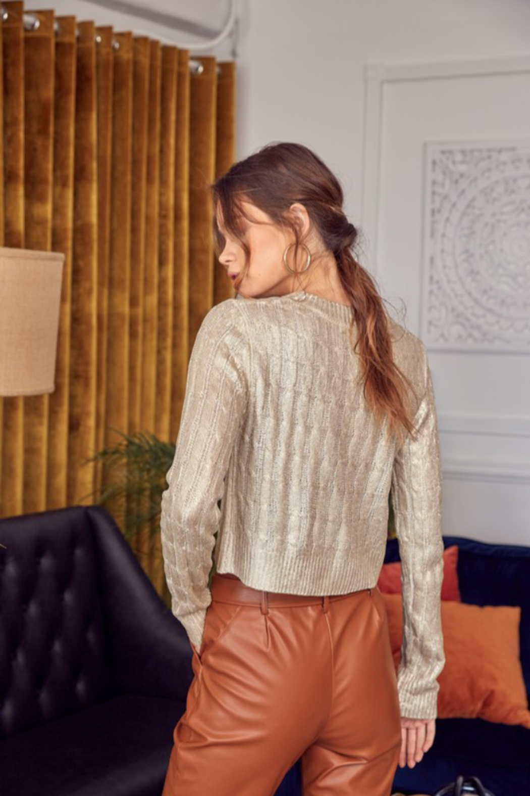 Idem Ditto  Metallic Cable Knit Sweater - Side Cropped Image