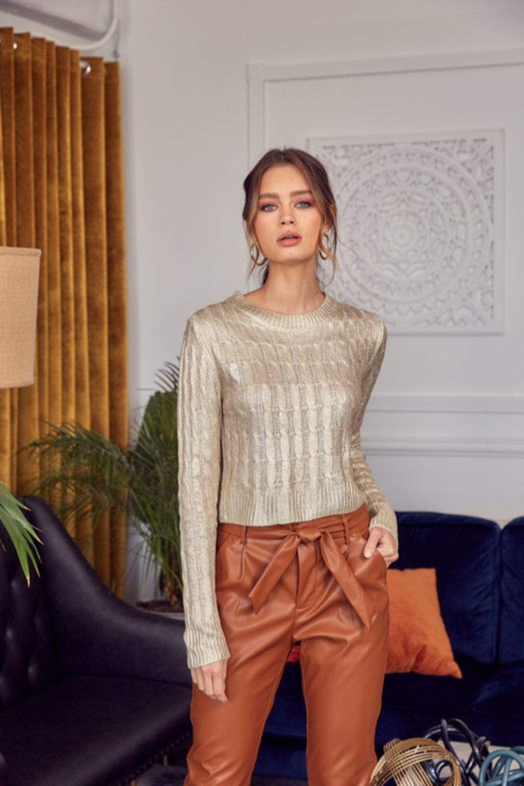 Idem Ditto  Metallic Cable Knit Sweater - Front Cropped Image