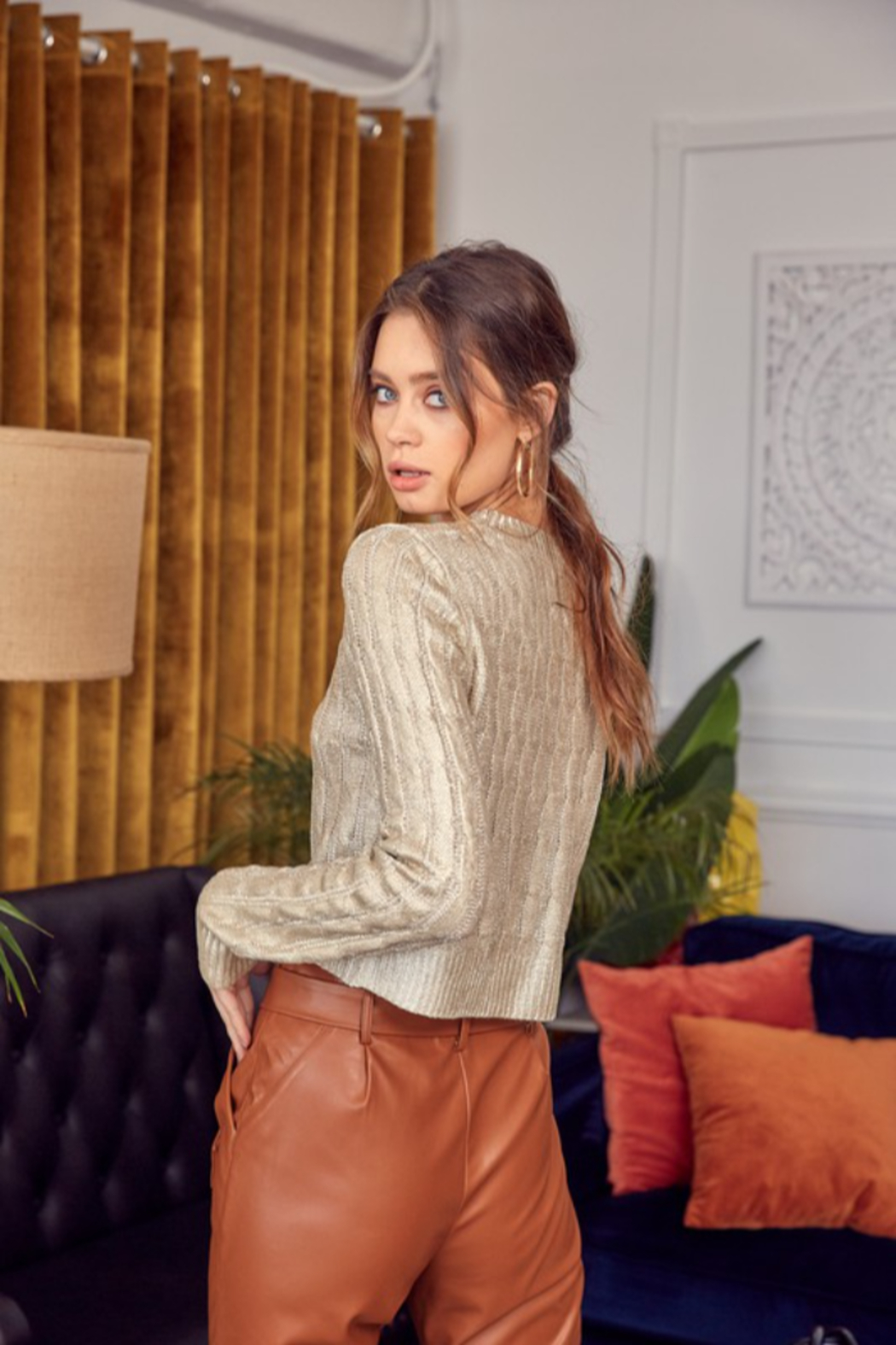 Idem Ditto  Metallic Cable Knit Sweater - Front Full Image