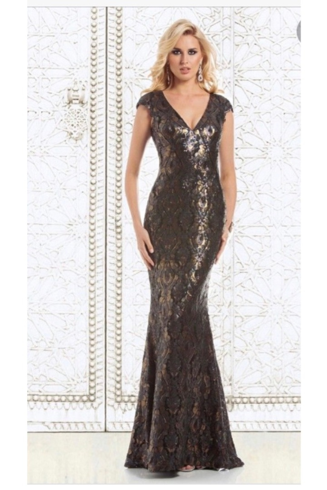 FERIANI COUTURE METALLIC CAP SLEEVE GOWN - Front Full Image