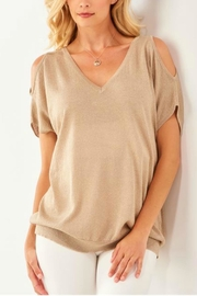 Charlie Paige Metallic Cold-Shoulder Top - Front cropped
