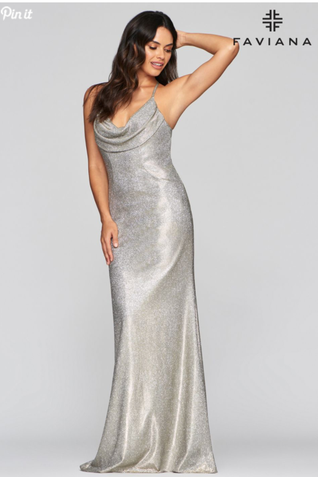 Faviana Metallic Cowl Gown - Front Full Image