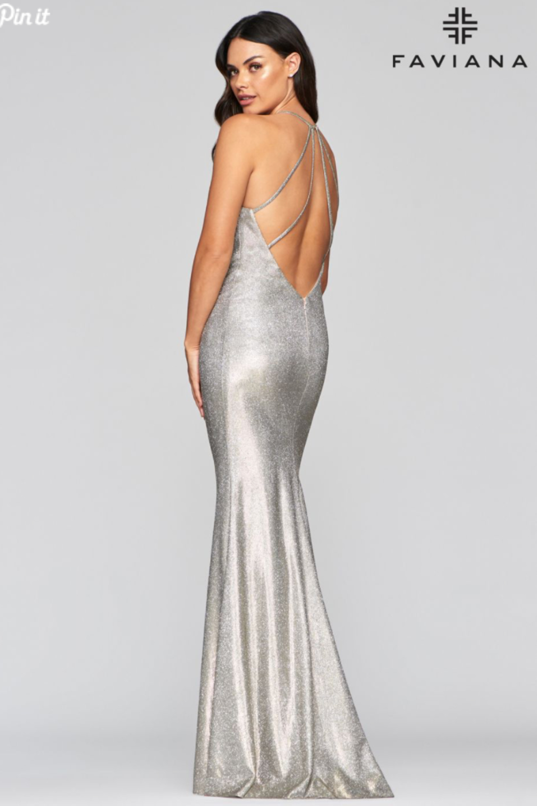 Faviana Metallic Cowl Gown - Side Cropped Image