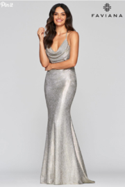 Faviana Metallic Cowl Gown - Front cropped