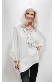 Omango Metallic Embroidered Fringed Poncho - Front cropped