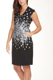 Frank Lyman Metallic Embroidered Silver Flower Knee Lenghth Dress - Product Mini Image