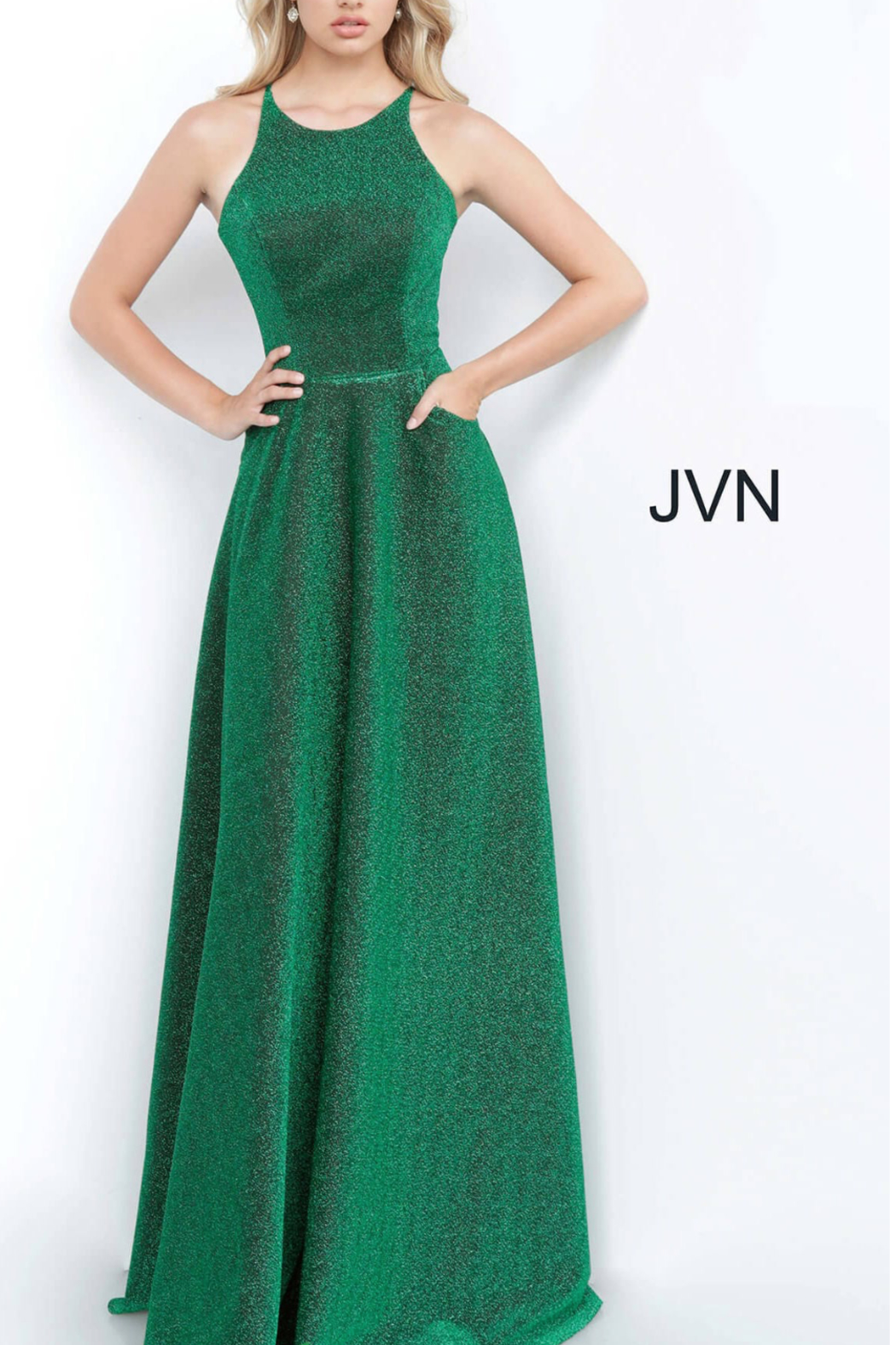 Jovani Metallic Emerald Gown - Front Cropped Image