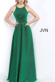 Jovani Metallic Emerald Gown - Front cropped