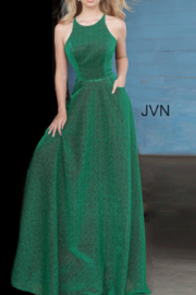 Jovani Metallic Emerald Gown - Front full body