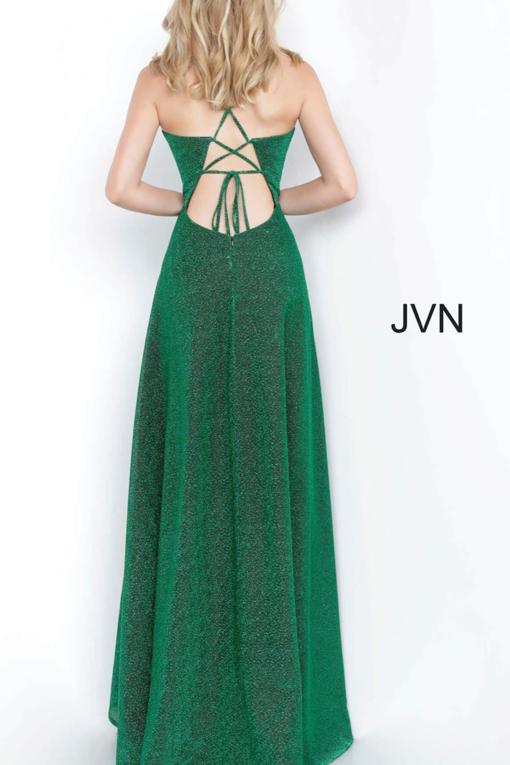 Jovani Metallic Emerald Gown - Side Cropped Image