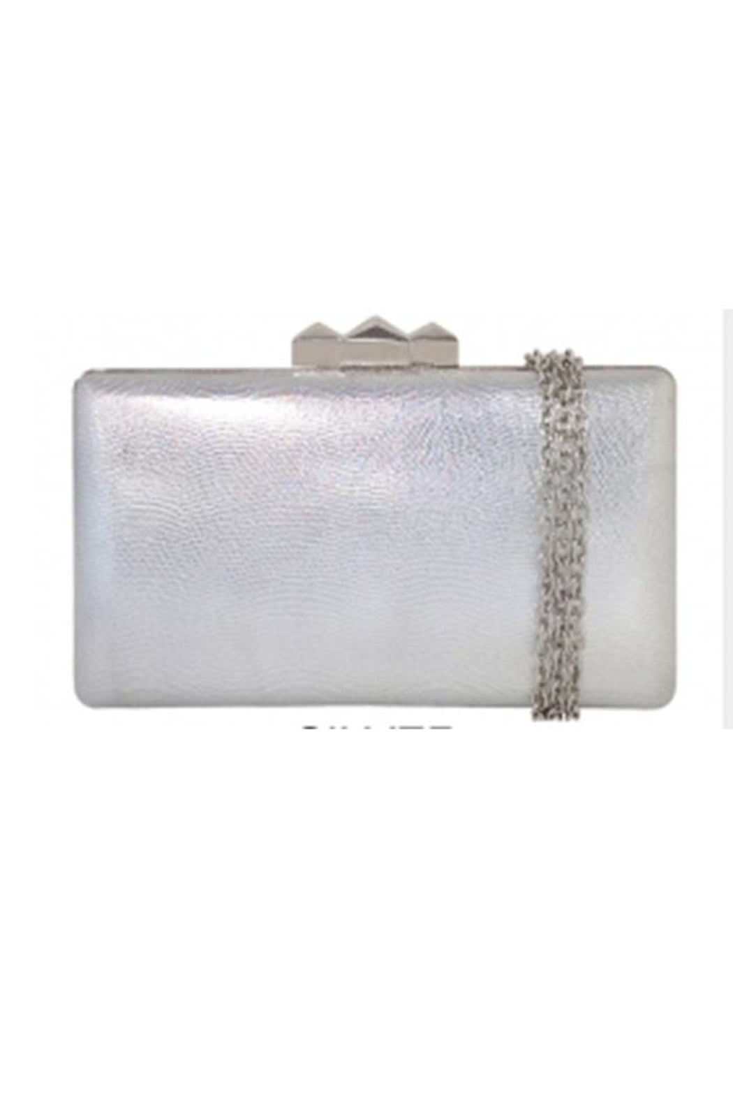 JNB Metallic Faux Leather Box Clutch - Front Cropped Image