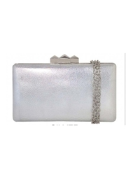 JNB Metallic Faux Leather Box Clutch - Front cropped