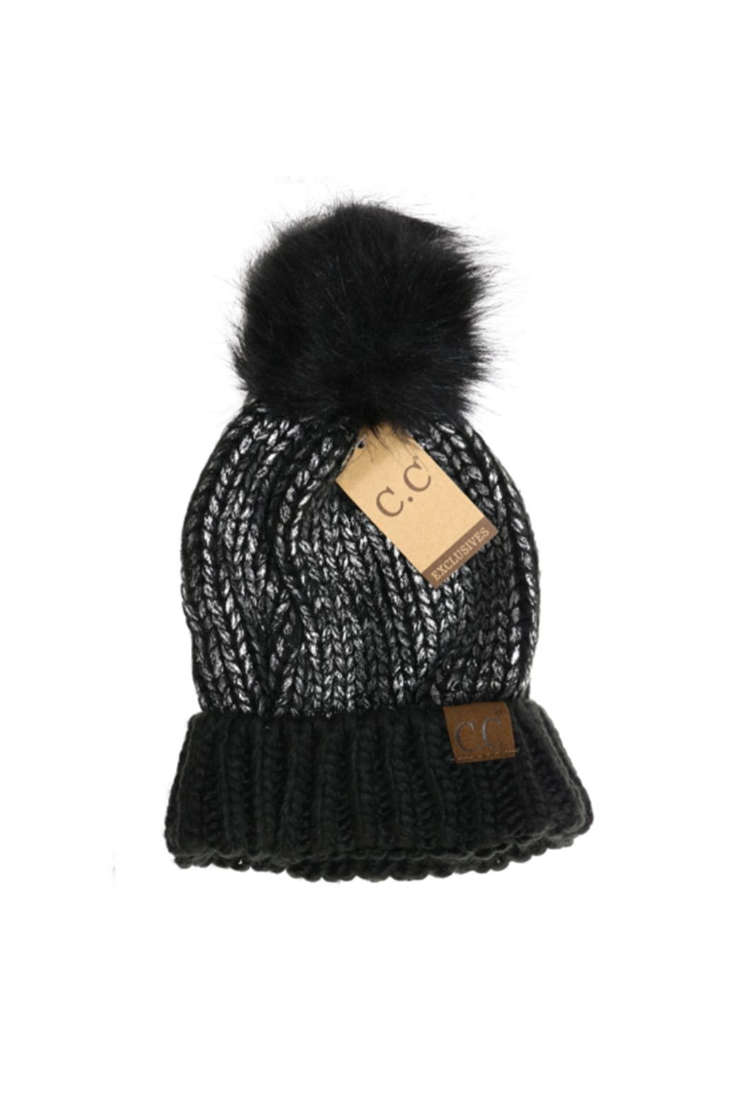 C.C Beanie Metallic-Foil Pom Beanie - Front Cropped Image