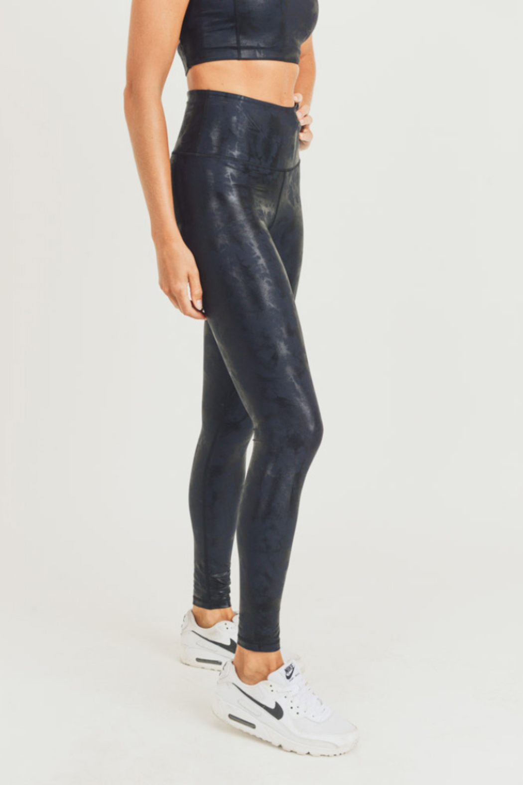 Mono B Metallic Foil Print Leggings - Side Cropped Image