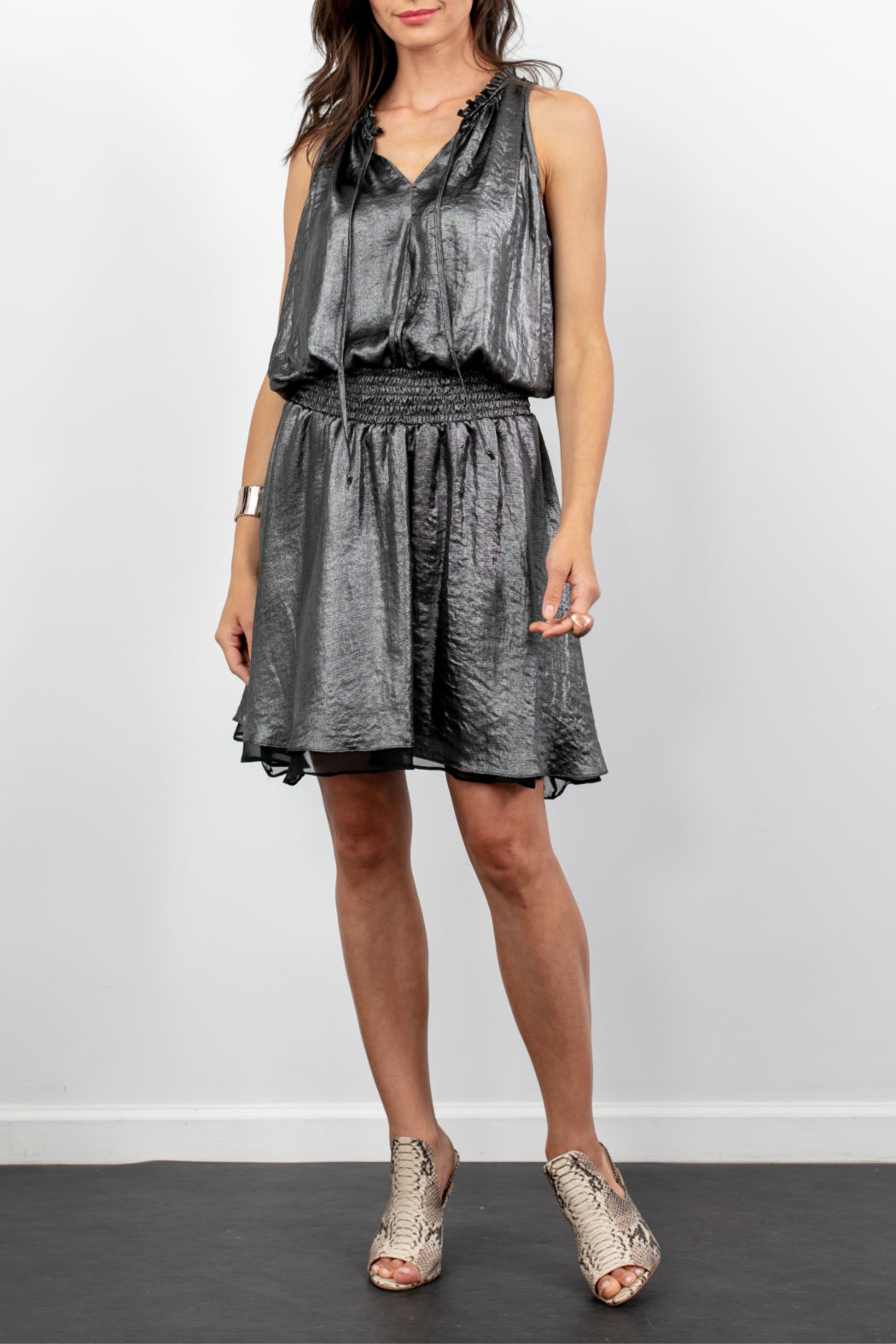 Lola & Sophie Metallic Gathered Waist Tiered Hem Dress - Front Cropped Image