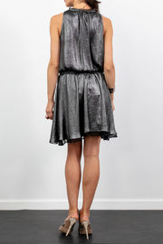 Lola & Sophie Metallic Gathered Waist Tiered Hem Dress - Front full body