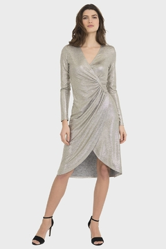 Shoptiques Product: Metallic Gold Dress in Grey/Gold