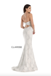 CLARISSE Metallic Ivory Gown - Front cropped