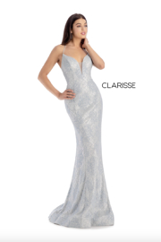 CLARISSE Metallic Ivory Gown - Front full body
