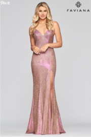 Faviana Metallic Jersey Gown - Product Mini Image