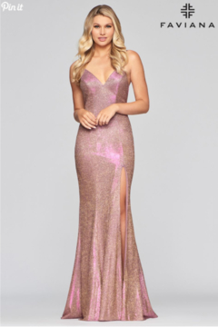 Faviana Metallic Jersey Gown - Product List Image