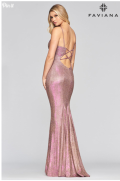 Faviana Metallic Jersey Gown - Alternate List Image