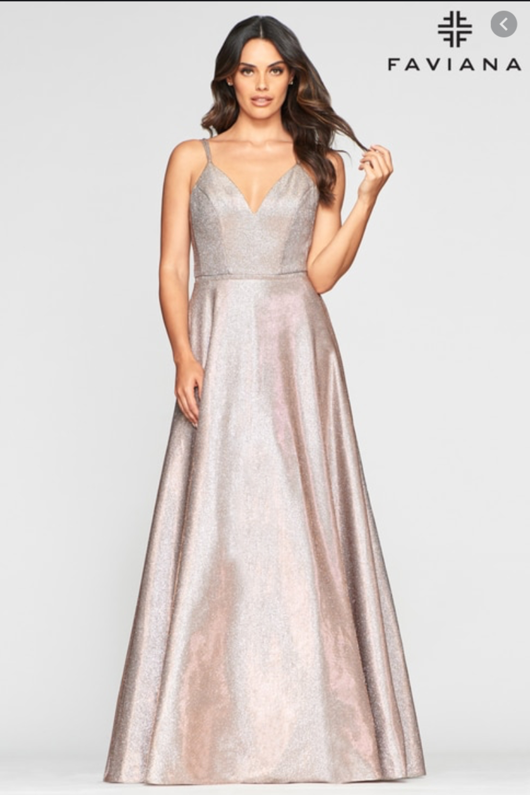 Faviana Metallic Jersey Gown - Front Cropped Image