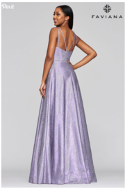 Faviana Metallic Jersey Gown - Front full body