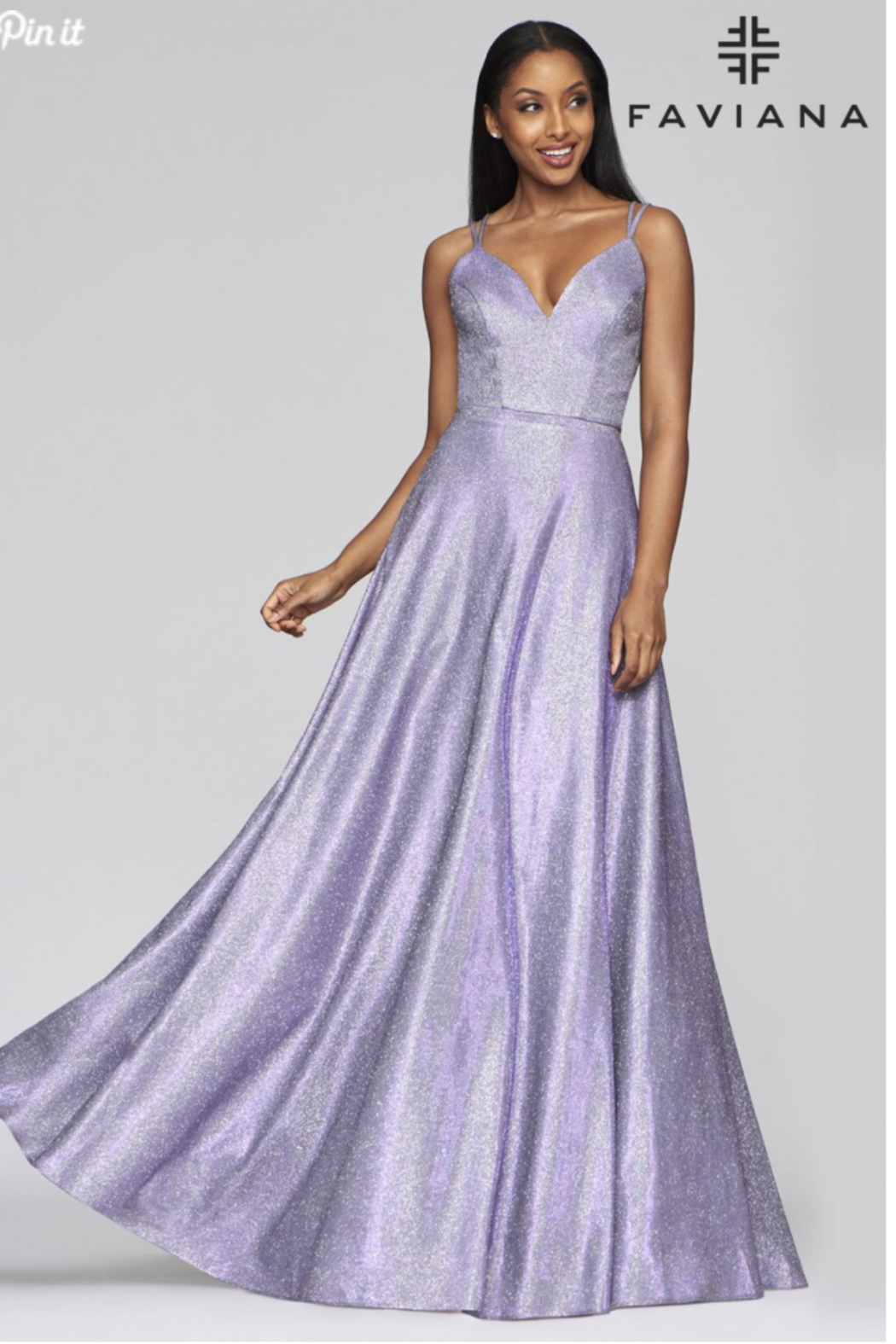 Faviana Metallic Jersey Gown - Side Cropped Image