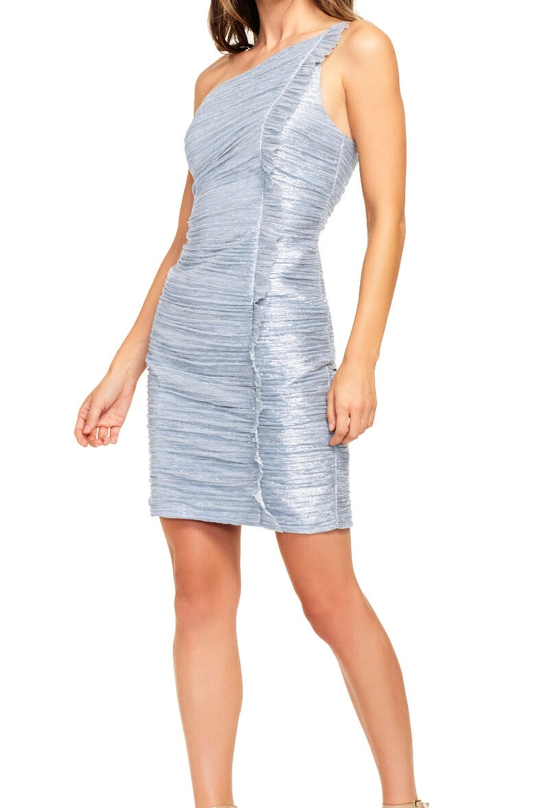 Aidan Mattox Metallic Knit One Shoulder Dress - Front Cropped Image