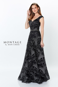 Montage Metallic Lace Ballgown, Black/Pewter - Product List Image