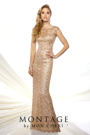 Montage Metallic Lace Dress, Gold - Product Mini Image