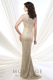 Montage Metallic Lace Dress, Gold - Front full body